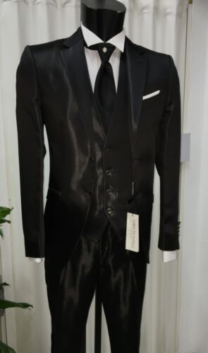 Nero Firmato Suit Pignatelli Carlo Uomo Abito Sposo Cerimonia Unito Wedding HqnExRWSwv