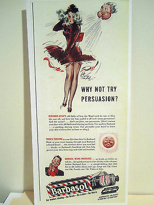 1940's Vintage Barber Color Sign Ad BARBASOL Sexy Pin Up Girl Model Signed Litho