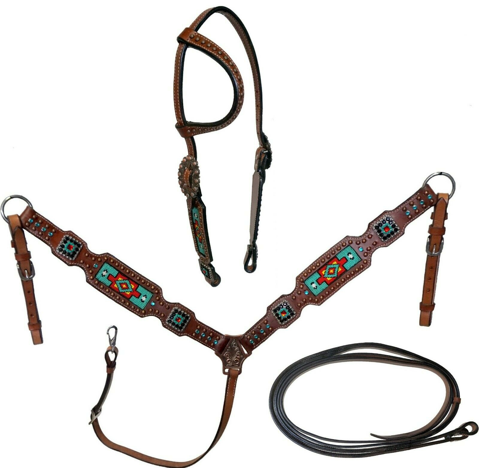 Equitem Medium Oil Leather Headstall BreastCollar Set w Teal & rosso Beaded Inlay