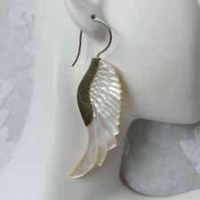 .925 Sterling Silver Hook Carved Angel Wing Feather Tribal Earrings Boho Jewelry