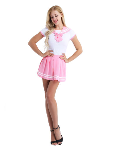 Japanese Sailor Cosplay Women Short Sleeve Romper Pleated Skirt Uniform Outfit