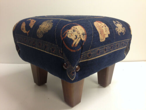FOOTSTOOLS   Zodiac  signs  royal blue woven fabric one for the stargazer
