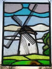 """Bleiverglasung  edles Glasmalerei- Fensterbild """"Alte Windmühle"""" signiert"""
