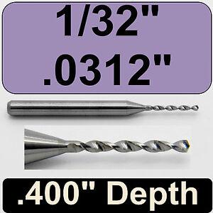 """1//32/"""" Diameter Solid Carbide Drill 1//8/"""" Shank Kyocera #105-0312.400 .0312/"""""""