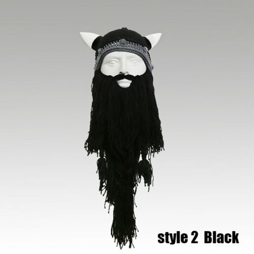 Handmade Mask Funny Crazy Ski Cap Long Beard Beanie Viking Horn Hat