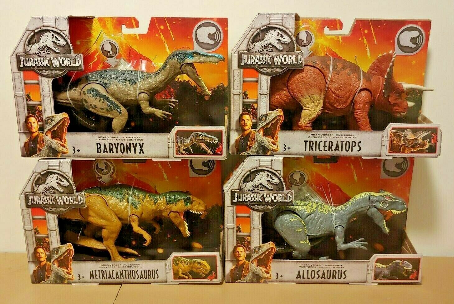 Mattel Jurassic World Roarivores Roarivores Roarivores Baryonyx Allosaurus Triceratops Metriacanthosau 52b65e