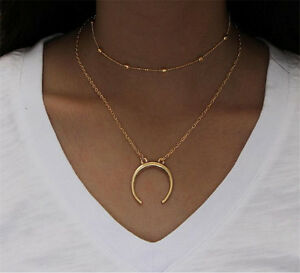 Simple-Double-Layers-Chain-Moon-Pendant-Necklace-Choker-Women-Jewelry