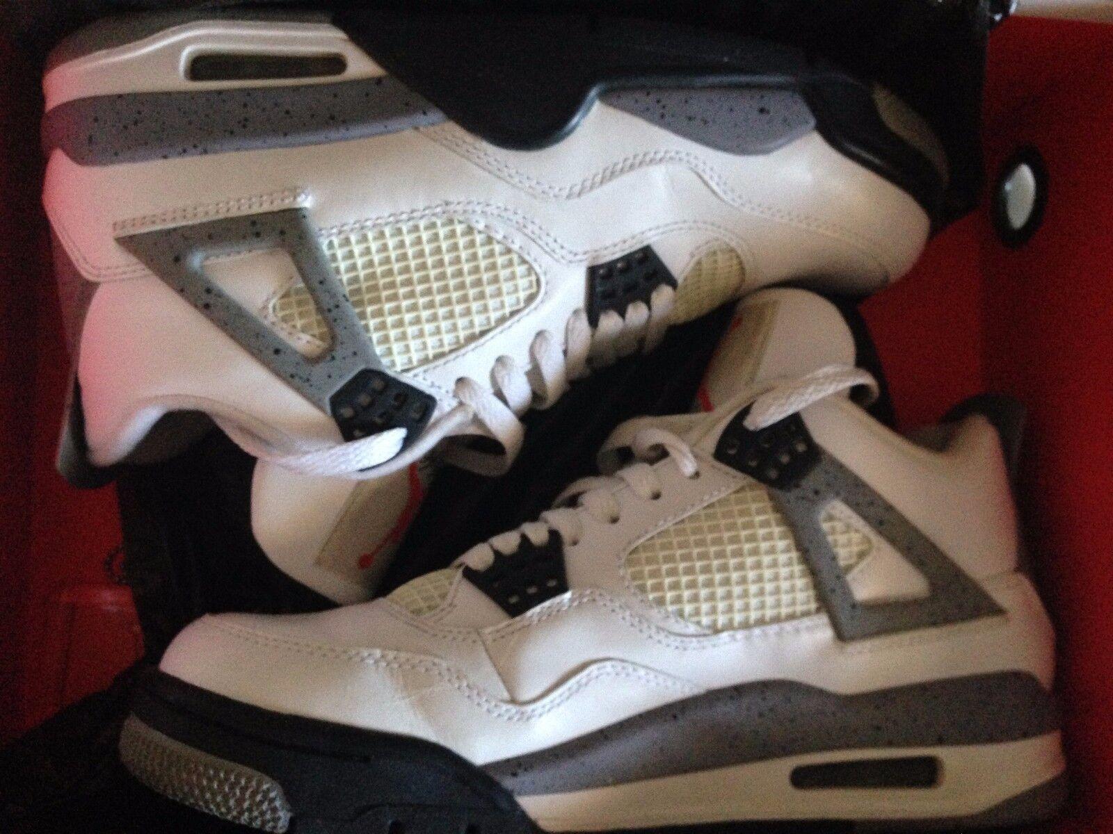 Nike air jordan 4 retro bianco / nero di cemento grigio 308497 103 39 noi