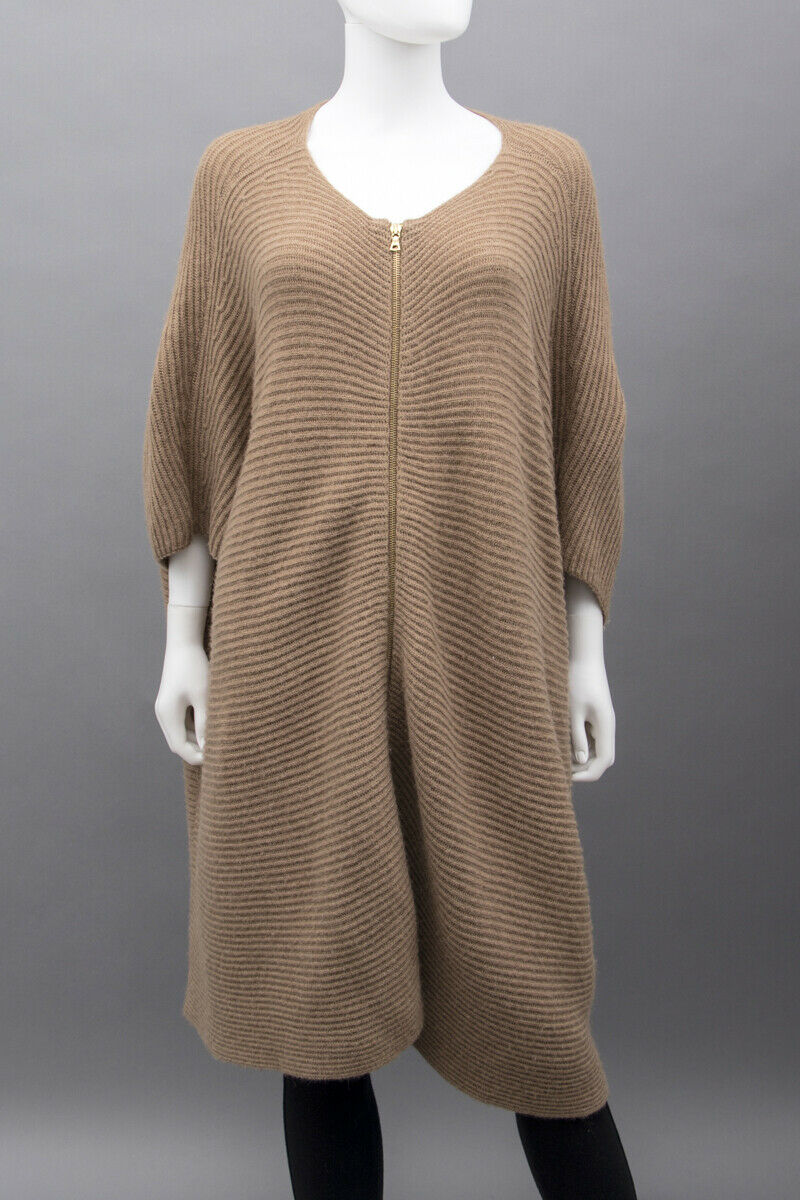 THE ROW Camel Brown Ribbed VE Knit Zip Up 3 4 Sleeves Poncho Sweater Cardigan S