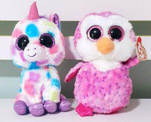 Lot-of-2x-TY-Beanie-Boos-Glider-the-Owl-amp-Wishful-the-Unicorn-15-16cm-Tall