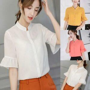 Shirt-T-Shirt-Top-Ladies-Short-Sleeve-Loose-Chiffon-Fashion-Summer-Blouse-Women
