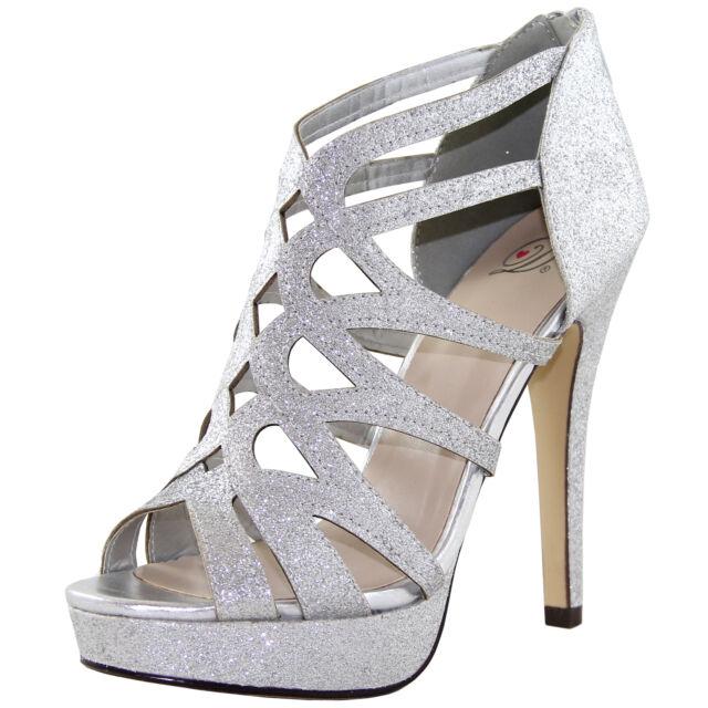 New women's shoes formal evening back zipper stilettos bridal silver glitter