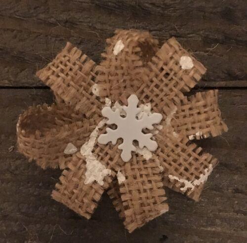 Primitive Christmas Snowflake Printed Burlap Flower Shabby Chic Winter Wedding 4