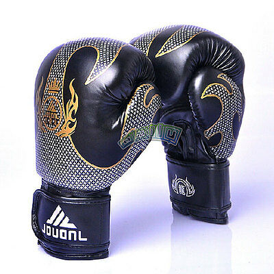 PU Black Combat  MMA Muay Thai Training Sparring Gloves Boxing Sanda Grappling