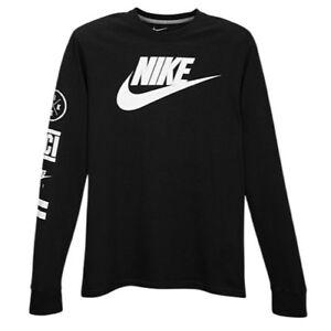 Nike Graphic Logo Long Sleeve T Shirt Black White Metallic Silver