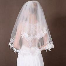 New 2 Tier Ivory White Wedding Bridal Elbow Satin Edge Veil Length with Comb
