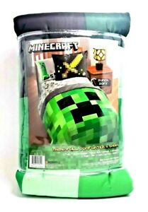 Minecraft-Bedding-Set-For-Boys-Comforter-Twin-Full-Sham-Reversible-Creeper-2-Pc