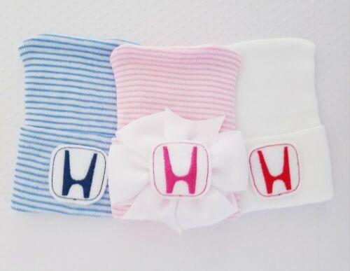 baby boy honda hat 2 ply Baby girl honda hat white NEW Newborn Hospital Hats