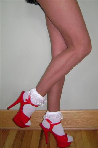 OPAQUE ANKLETS w// RUFFLED LACE CUFFS BLACK or WHITE