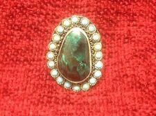 925 Sterling Silver Oval Filigree Design Ring with semi precious stones