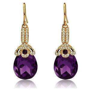 28beb01b4 Vintage Long Luxury Teardrop Gold & Dark Purple Drop Earrings E690 ...