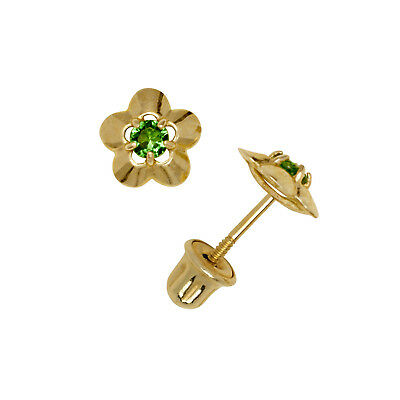Emerald Gemstone Flower Stud Earrings Child Safe Screw Back 14K Yellow Gold