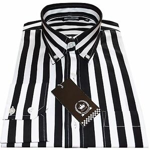 58a941d150 Relco Mens Black & White Candy Stripe Button Down Long Sleeved Shirt ...