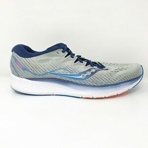 Saucony Mens Ride ISO 2 S20514-1 Gray Blue Running Shoes Lace Up Low Top Size 12