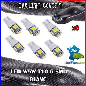 6-x-ampoule-veilleuse-Feu-LED-W5W-T10-BLANC-XENON-6500k-voiture-auto-moto-5-smd