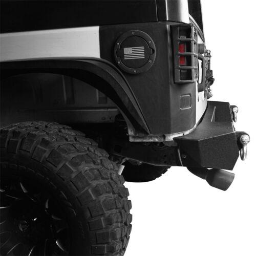 Fit 07-18 Jeep Wrangler JK Rock Crawler Rear Bumper w// D-Rings/& 18W Led Lights