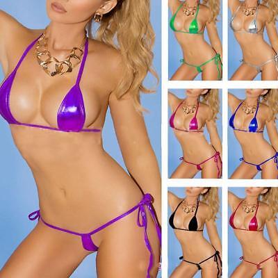 Frauen Wet Look einteilige Bikini Bademode Metallic Trikot Bodysuit Clubwea O6Q9