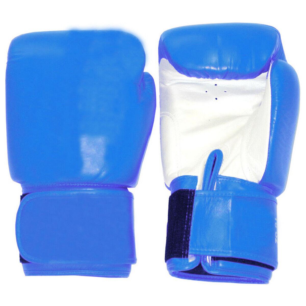 Boxhandschuhe blau-weiß Leder TIGER  Sparring -  Thaiboxen - Boxen -   10 -16 oz