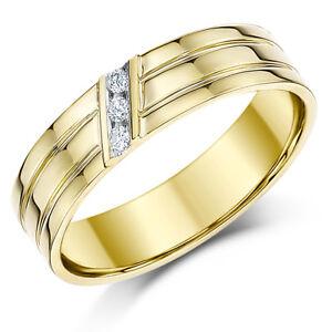 9ct Yellow Gold Wedding Ring Flat Court Diamond 5mm Ring Sale Ebay