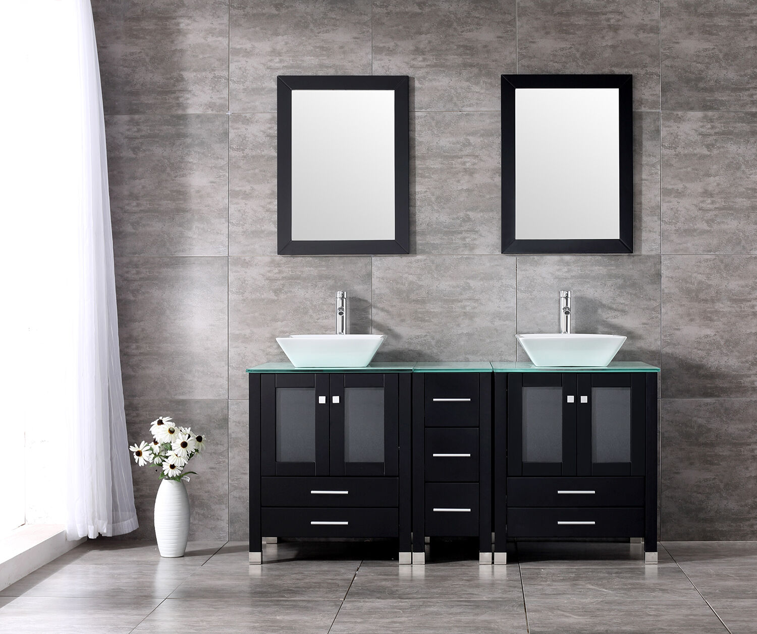 60 Double Vanity Bathroom Ceramic Sink Cabinet Combo Set W Mirrors Faucet For Sale Online