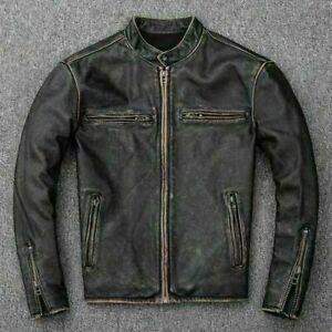 Men's Motorcycle Biker Vintage Distressed Black Faded Real Cow Leather Jacket