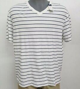Daniel-Cremieux-White-Navy-Striped-V-Neck-S-S-Men-039-s-Shirt-NWT-40-Choose-Size