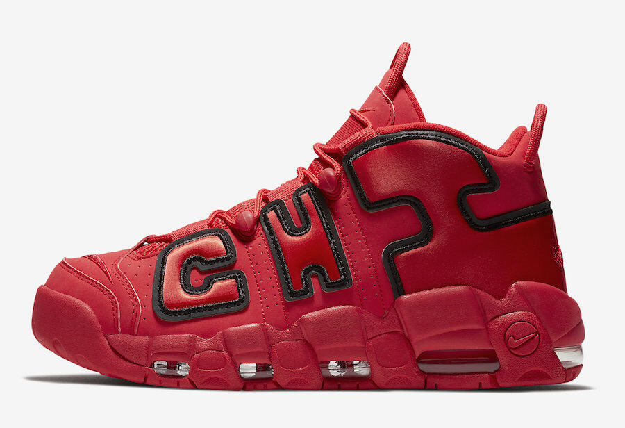 Nike More Uptempo CHI QS. size 8.5. Chicago. AJ3138-600. Red Black. Bred.