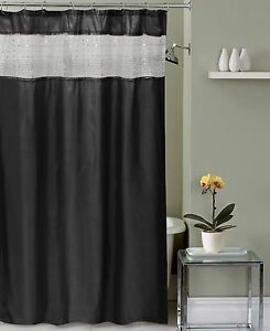 Silver White Sequin Top Stripe Black Faux Silk Fabric Shower Curtain