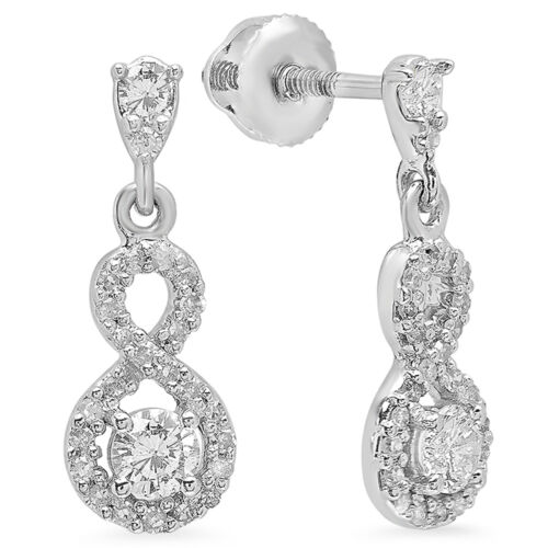 0.40 CT 10K White Gold Round White Diamond Ladies Swirl Dangling Drop Earrings