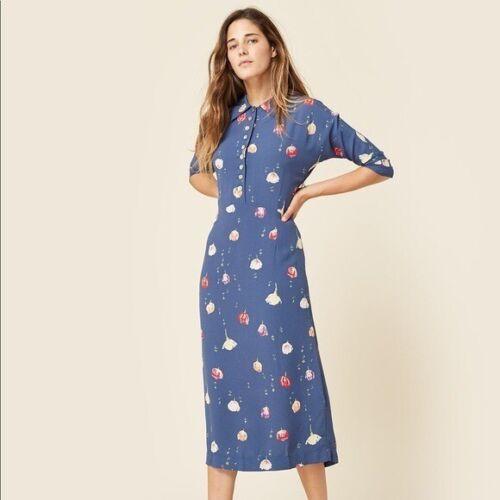 Christy Dawn Deyko Dress Blue Button Down Floral P