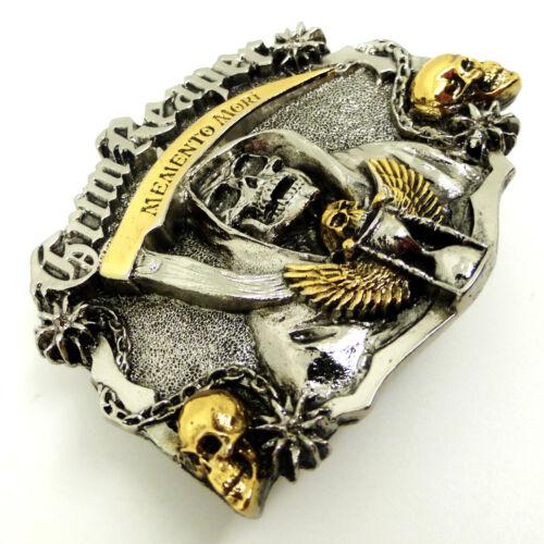 Skull Belt Buckle Grim Reaper Memento Mori 24ct Gold Gothic Dragon Designs