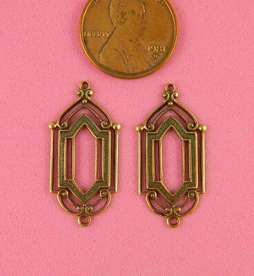 ANT BRASS DESIGN, ART NOUVEAU EARRINGS WITH TWO RINGS - 2 PC