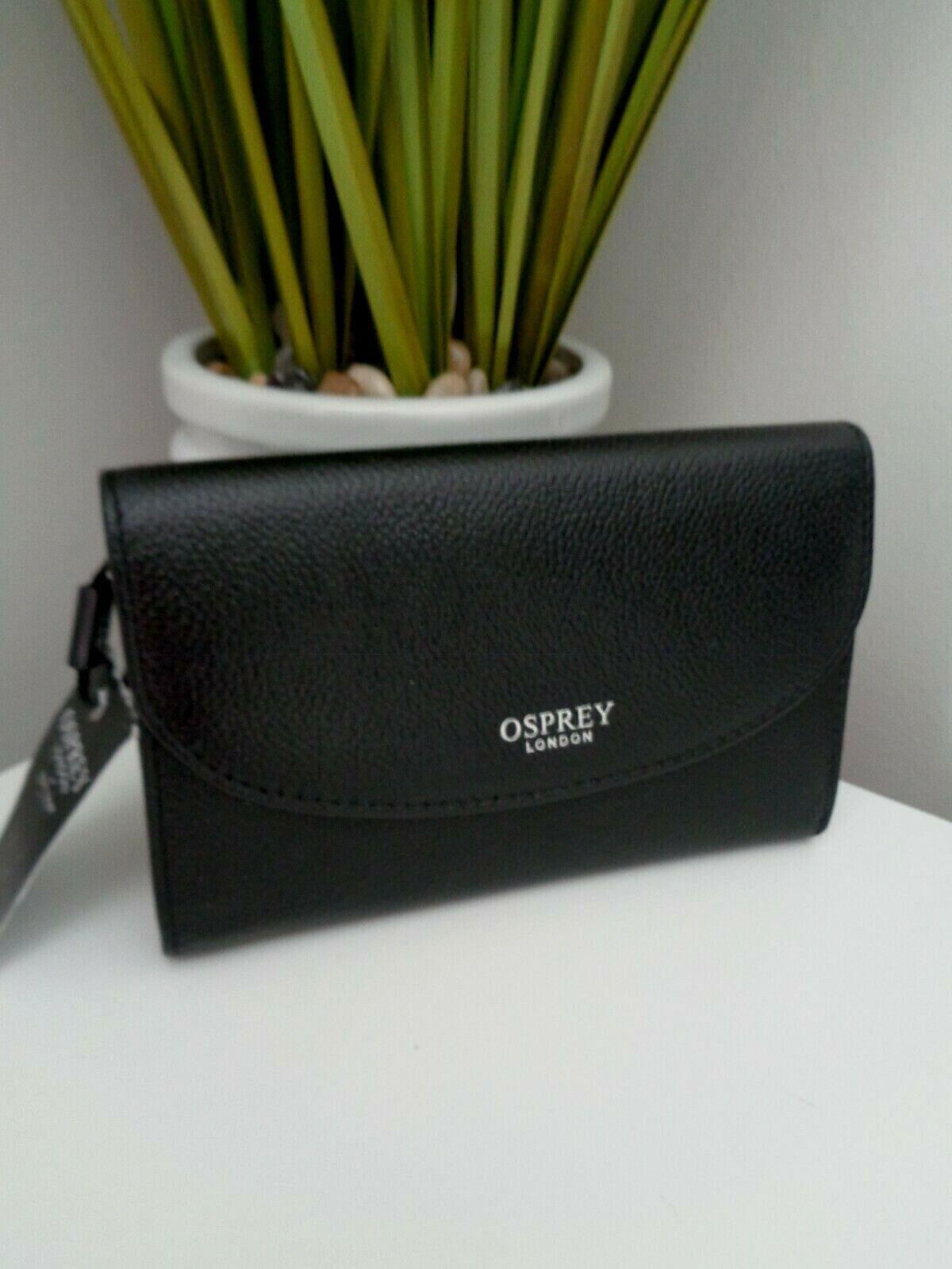 BNWT Osprey OSP 107 Black Leather Purse Wallet