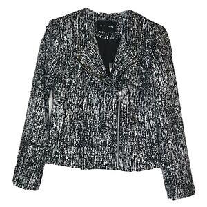 Alice + Olivia Womens Speckle Print Asymmetrical Zip Blazer Black White Sz S NWT