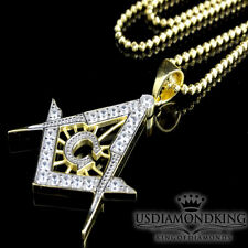 Yellow Gold On 925 Sterling Silver Lab Diamond G Masonic Pendant Charm Necklace