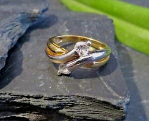 Eleganter-925-Sterling-Silber-Ring-Teil-Vergoldet-Bicolor-Zirkonia-Wie-Diamant