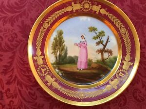 19th-Century-Old-Paris-Porcelain-Hand-Painted-plate-with-french-maiden