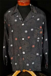 RARE-1950-039-S-DARK-BROWN-WITH-GOLD-SPECK-RAYON-PRINT-PJ-TOP-SHIRT-SIZE-LARGE
