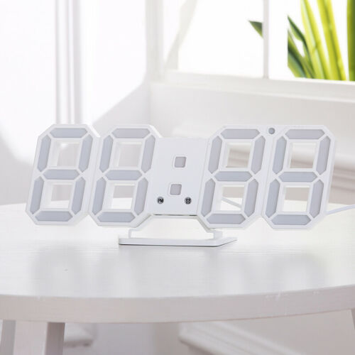 Digita LED Digit 3D Table Wall Clock Dimmer Alarm Snooze Temperature White Moder