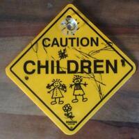 1 Schild 12cm Achtung Kinder Hinweis Warn Caution Children Australien Auto Kfz